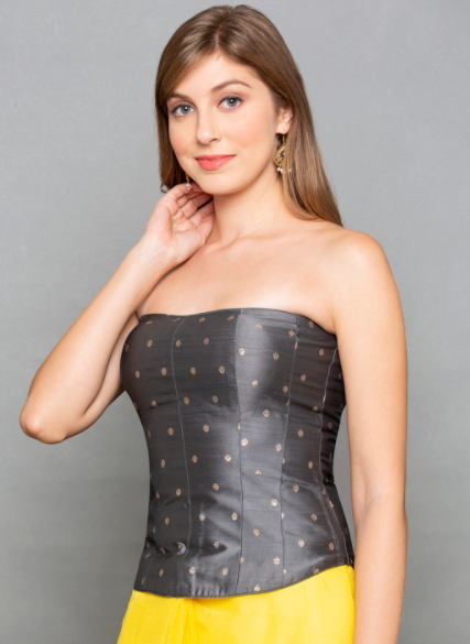 types of shapewear charcoal grey corset front full